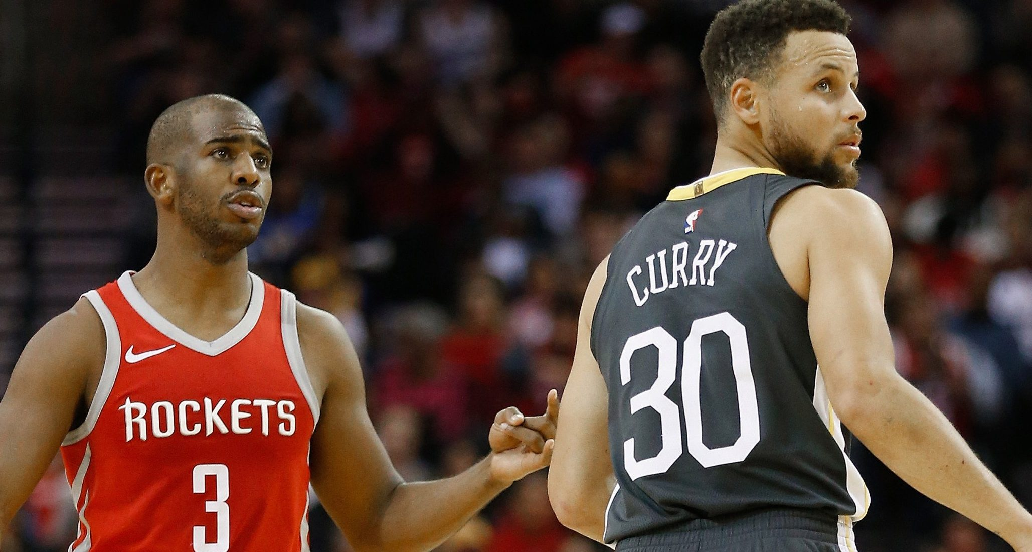 Chris Paul-Steph Curry-Houston Rockets-Golden State Warriors-NBA Playoffs-Western Conference semifinals-NBA futures-NBA series prices-Warriors favored vs. Rockets-