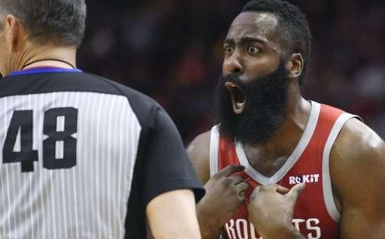 Scott Foster-Houston Rockets-Golden State Warriors-Game 2-NBA Playoffs-James Harden-