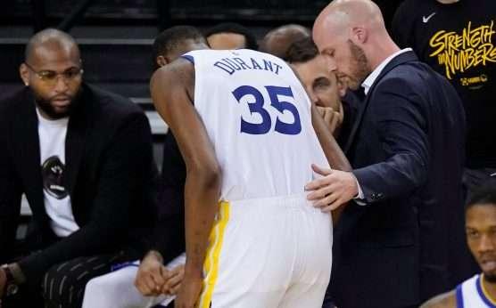 Kevin Durant-Golden State Warriors-Game 6 at Houston-KD injury-Houston Rockets-NBA Playoffs-