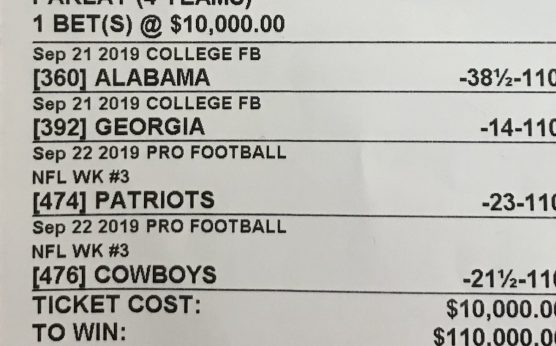 Jimmy Vaccaro-South Point takes 4-team parlay that pays 110K-$10,000 4-team parlay could win $110,000-Blake Von Hagen