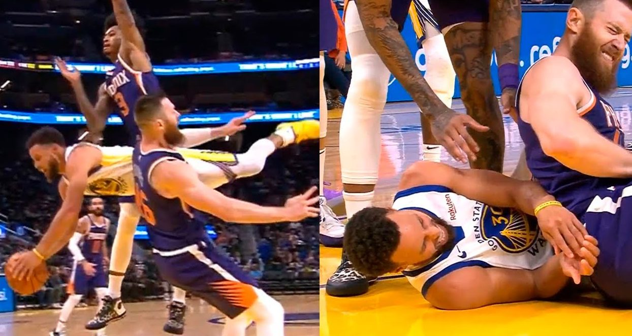 Image result for Warriors' Stephen Curry breaks left hand in fall""